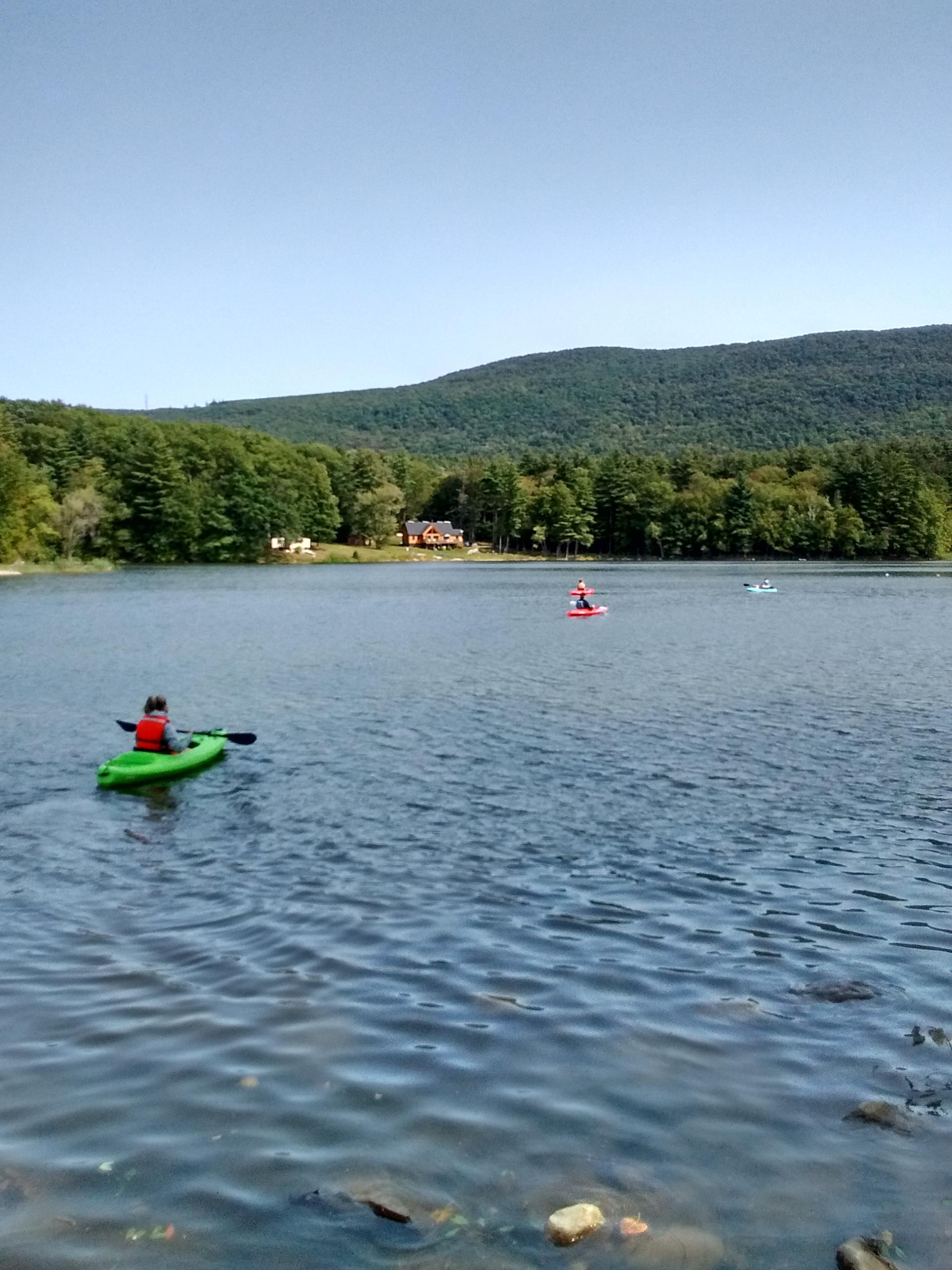 MCLA students kayak at Windsor Lake in North Adams.