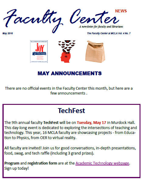 Faculty Center Newsletter - May 2016