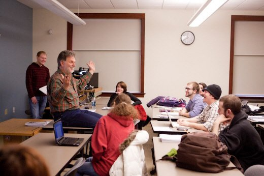 Professor teaching class