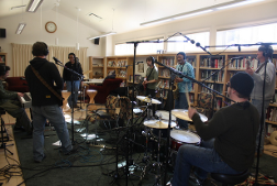 Misty Blues Band in a classroom warming up