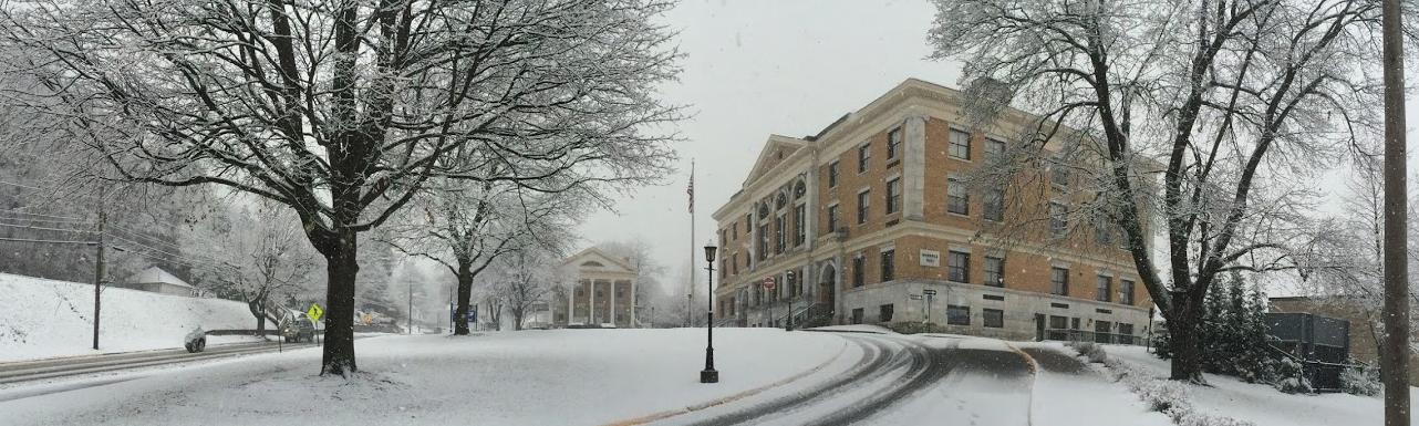 Murdock Hall and Smith House after a snow