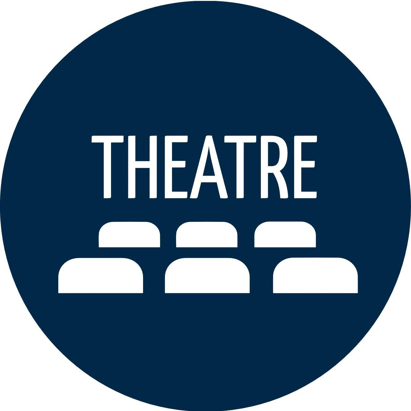MCLA Theatre Logo. It is a blue square with white rectangles inside to give th appearance of theatre seating.