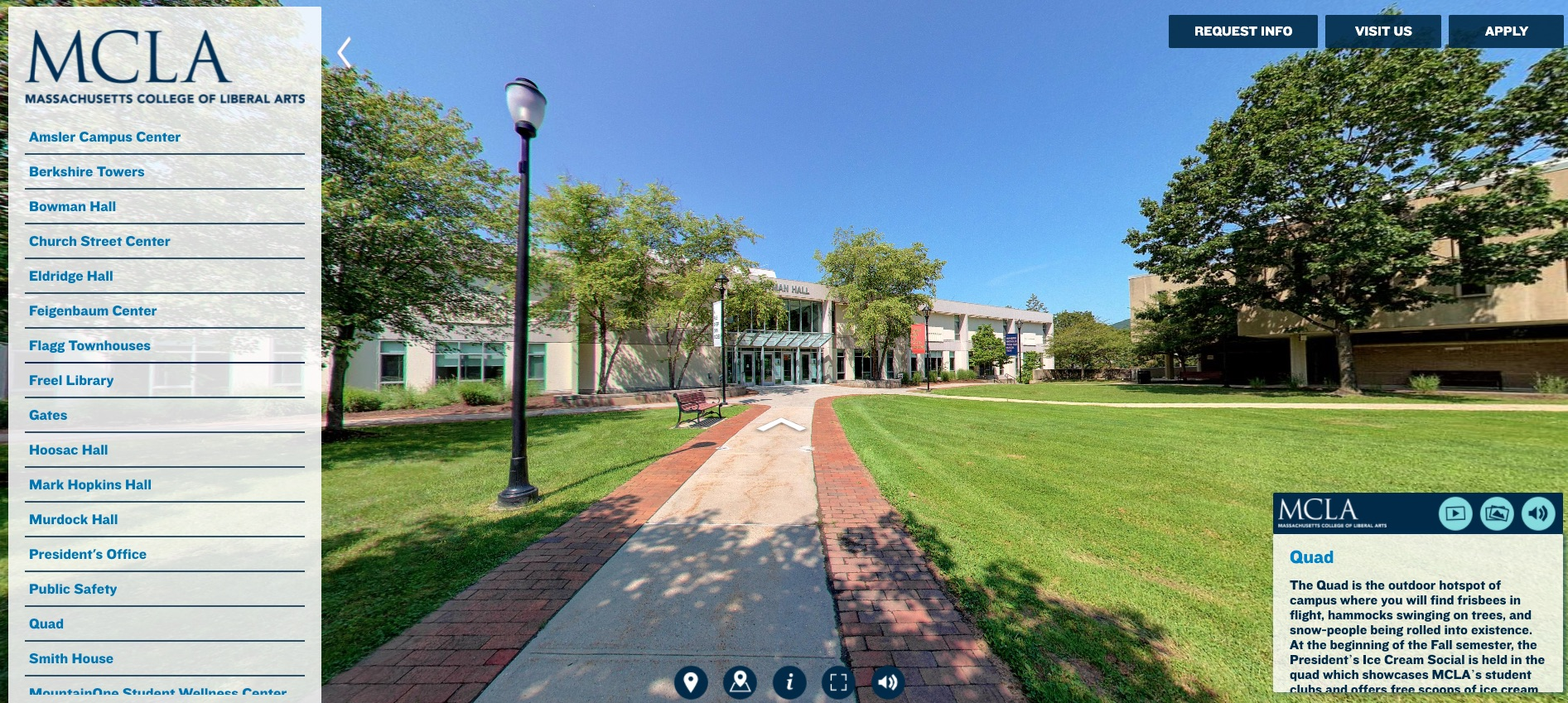 Students interested in visiting MCLA can now preview the campus by walking through it online. MCLA's Office of Admission has released a new virtual tour that lets students explore the campus and tour classrooms, residence areas, and other campus landmarks.