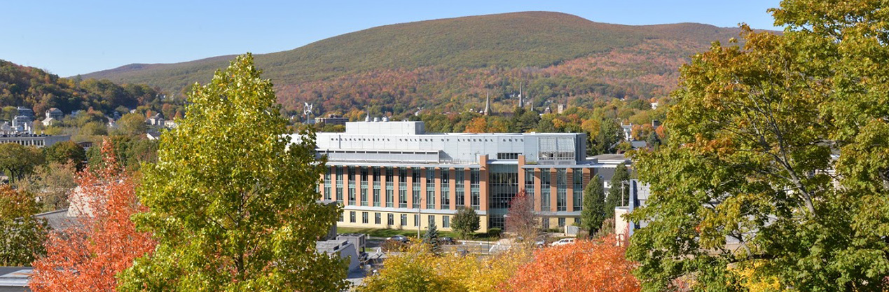 View of center for science and innovation in autumn